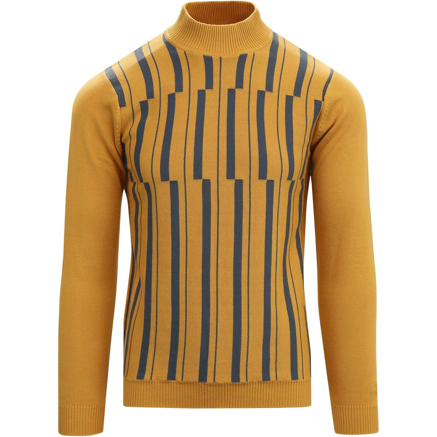1960s – 70s Mens Shirts- Disco Shirts, Hippie Shirts Madcap England Symphony Retro 60s 70s Mod Abstract Stripe Knitted Turtleneck (Mock Turtle) Jumper £39.99 AT vintagedancer.com