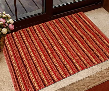 The Home Talk Multicolor Stripes Cotton and Polyester Area Rug/mat, Size: 60 x 90 cm, Best forbedroom/Kids Room/Living Room/Passage/Door Entrance- Red