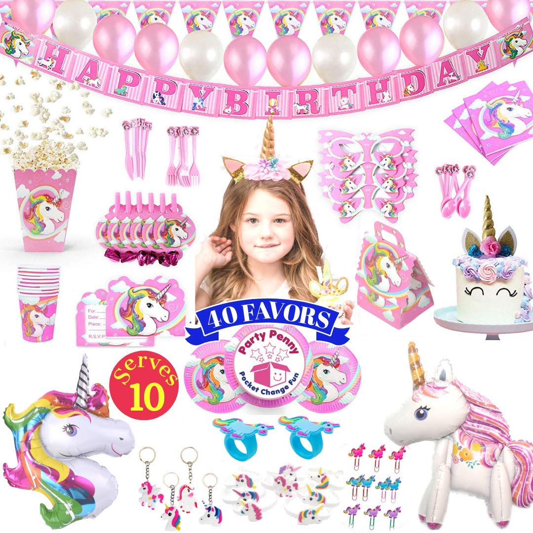 Unicorn Party Supplies - 197 pc Set With Unicorn Themed Party Favors! Pink Unicorn Headband for Girls, Birthday Party Decorations, Unicorn Balloons, Pin the Horn on the Unicorn Game and more| Serve 10! by Party Penny