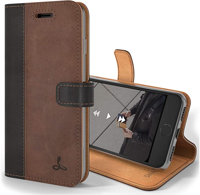 Snakehive Vintage Wallet for Apple iPhone 8 Plus || Real Leather Wallet Phone Case || Genuine Leather with Viewing Stand & 3 Card Holder || Flip Folio Cover with Card Slot (Black & Brown)