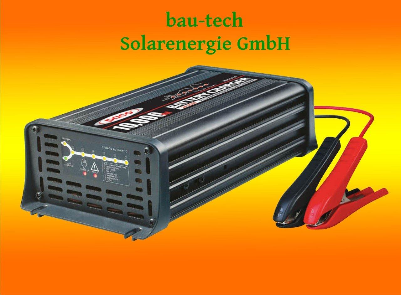Batterieladegerä t 12V, 10 Amper, 7-Stufen IUoU Automatik, Blei Calcium VRLA AGM GEL Nass von bau-tech Solarenergie GmbH