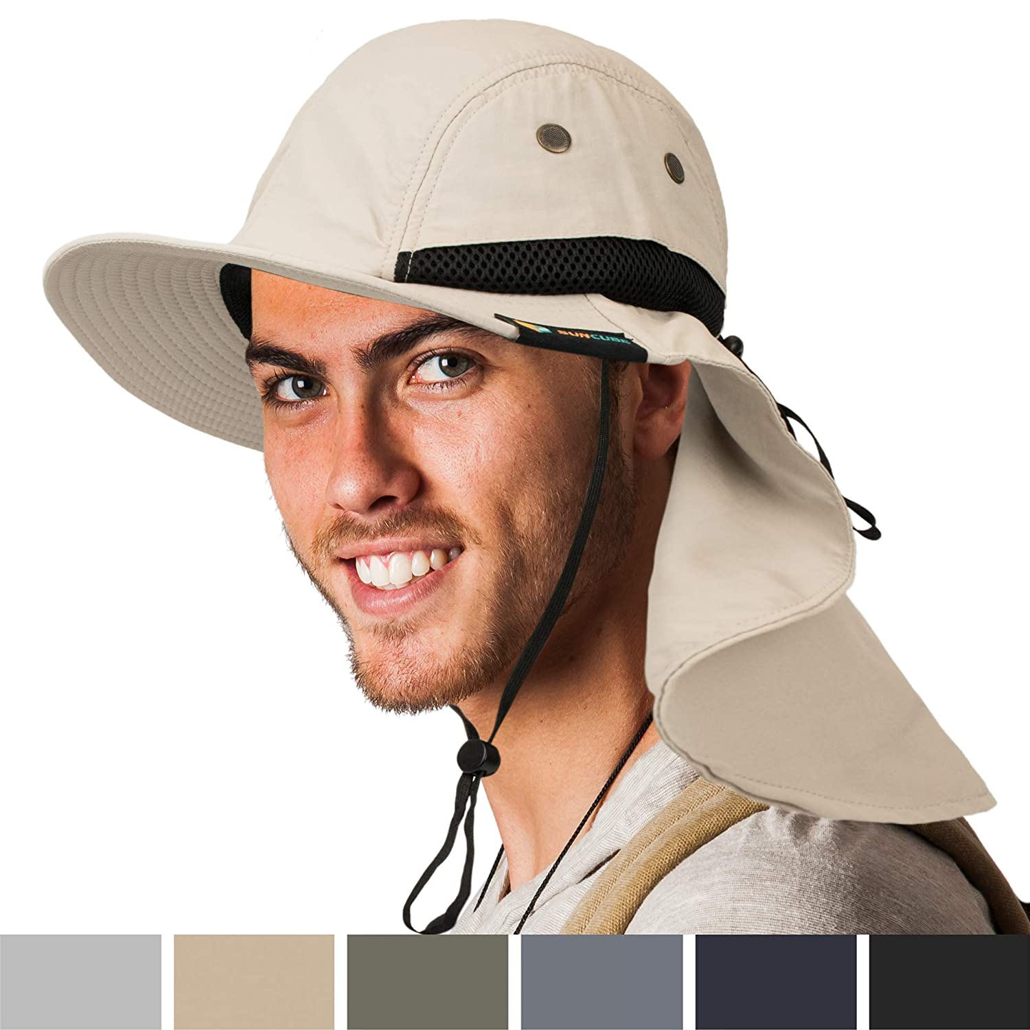 SUN CUBE Outdoor Sun Hat with Neck Cover Packable Wide Brim Hat with UV Protection Work Hat with Sun Protection for Fishing, Gardening, Hiking, Safari Sun Hat for Men, Women