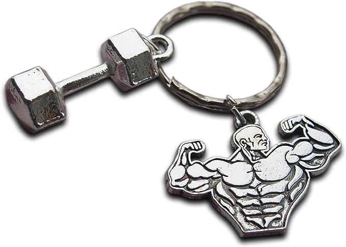 Motivazionale Fitness Portachiavi Strong Man Manubri Keychain Creativo Chiave Sport Da Ring Palestra Regalo Per Gli Uomini