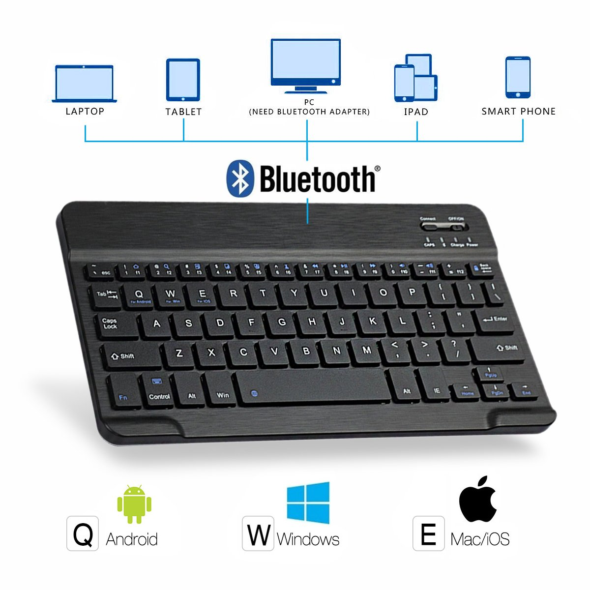 AntArt 10.5 Leather case + Wireless Bluetooth American English ABS Brushed Keyboard for iOS, Android Windows by AntArt (Image #2)
