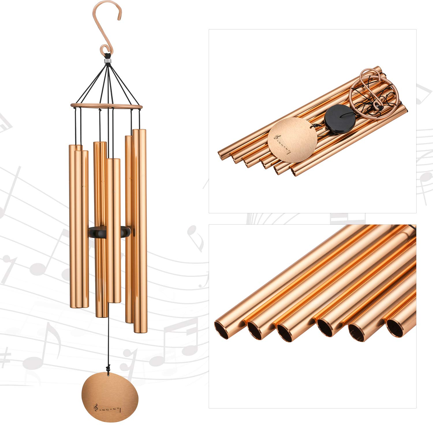Migargle 42-inch Wind Chimes- Tuned Large Garden Outdoor Windchimes for Patio and Terrace - Best Metal Musical Windchime Outdoor and Home Decoration