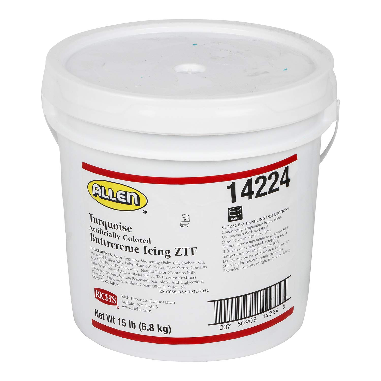 Rich's JW Allen Pre-Whipped Buttrcreme Icing ZTF, Turquoise, 15 lb