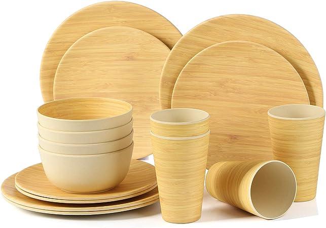 LEKOCH 16 Pièces Ensemble Vaisselle Bambou avec Plat à Salade, Plat à Dîner, Bol à SaladeDessert et Tasse pour 4 Personne,