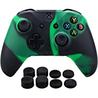 Pandaren Silicone rubber cover skin case anti-slip Customize for Xbox One/S/X controller x 1 Black Green + FPS PRO extra height thumb grips x 8