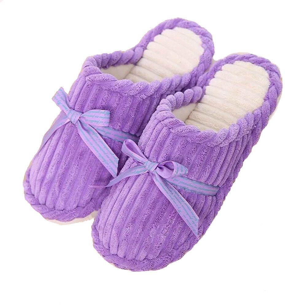 Niuchacha Slippers Cozy Nonslip Memory Foam Lightweight Lining Plush Washable Warm Cotton Home House (Child 4-5 /Female 5.5-6, Purple)