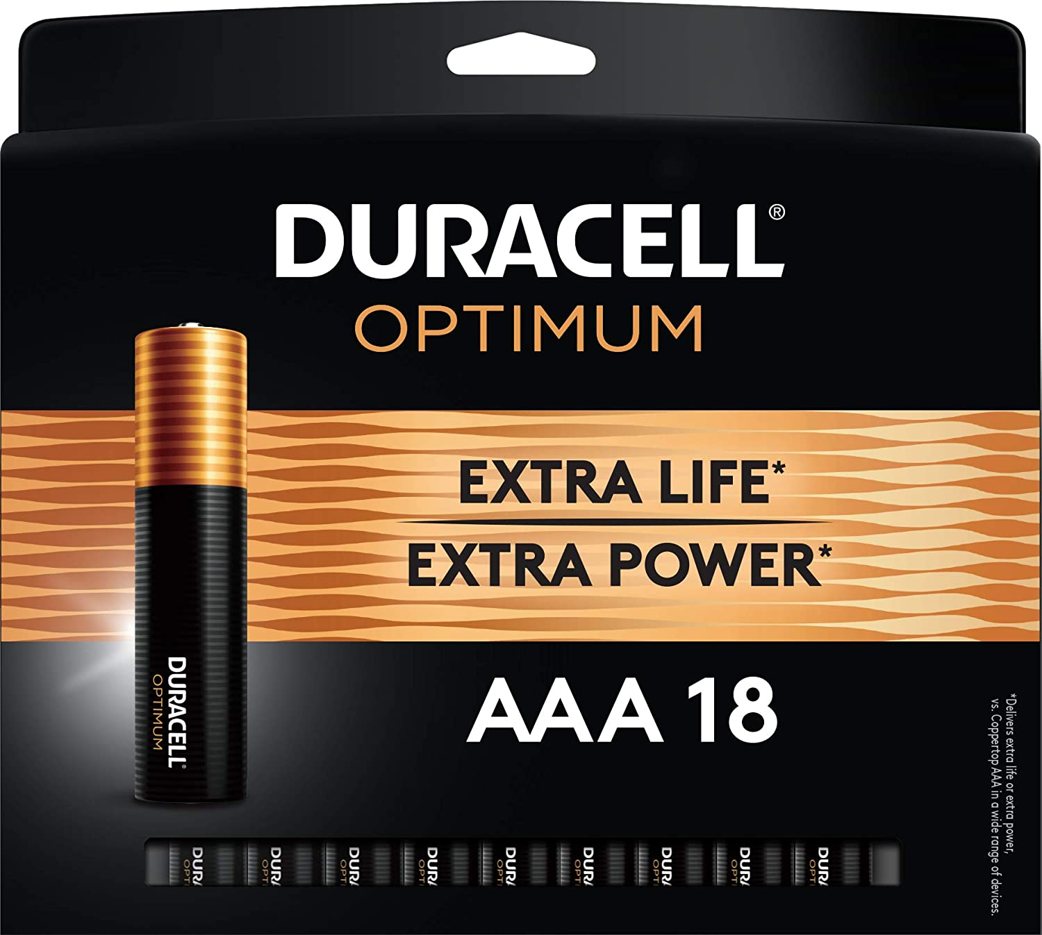 Duracell Optimum AAA Batteries   Lasting Power Triple A Battery   Alkaline AAA Battery Ideal for Household and Office Devices   Resealable Package for Storage, 18 Count (Pack of 1)
