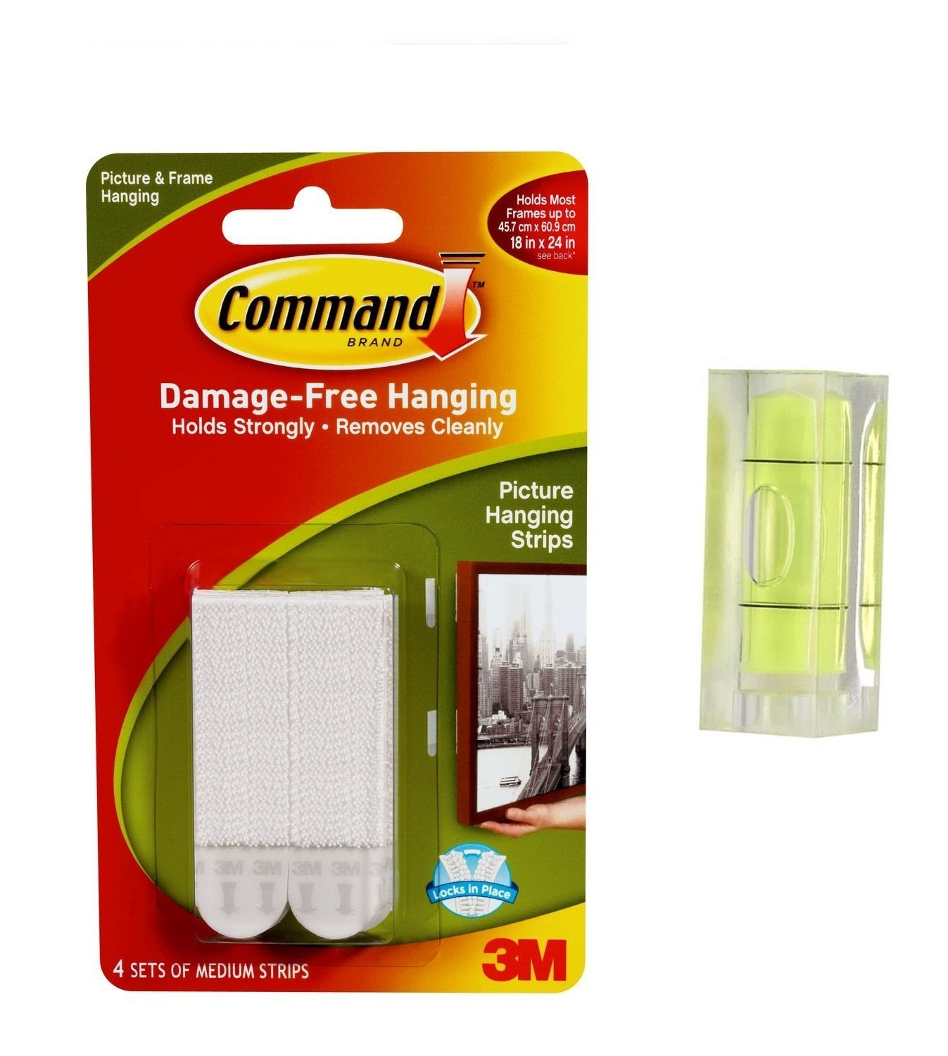 Command 17201-4pk Medium Picture Hanging Strips, 4 pairs (4x2) - White 3M