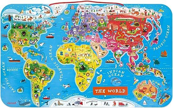 Janod - Puzzle magnético del Mundo de madera, Version en Inglés, 92 piezas (J05504): Amazon.es: Juguetes y juegos