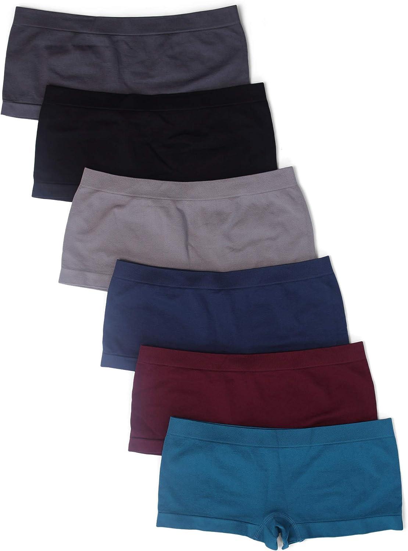 Kalon 6 Pack Women's Nylon Spandex Boyshort Panties