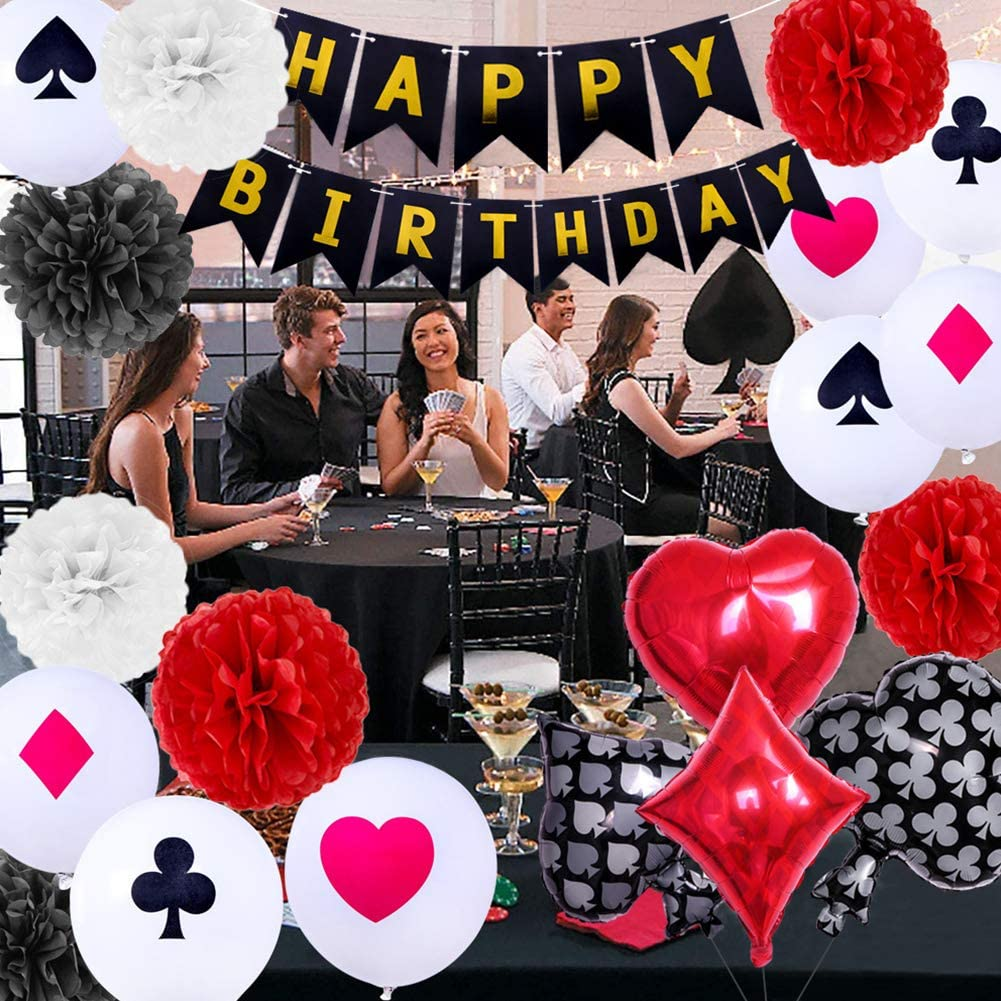 NINEFOX Party Decorations Kit DIY Home Aluminum Foil Balloons Poker Events Reusable Las Vegas Paper Flowers Casino Theme Game Night Happy Birthday Banner Backdrop