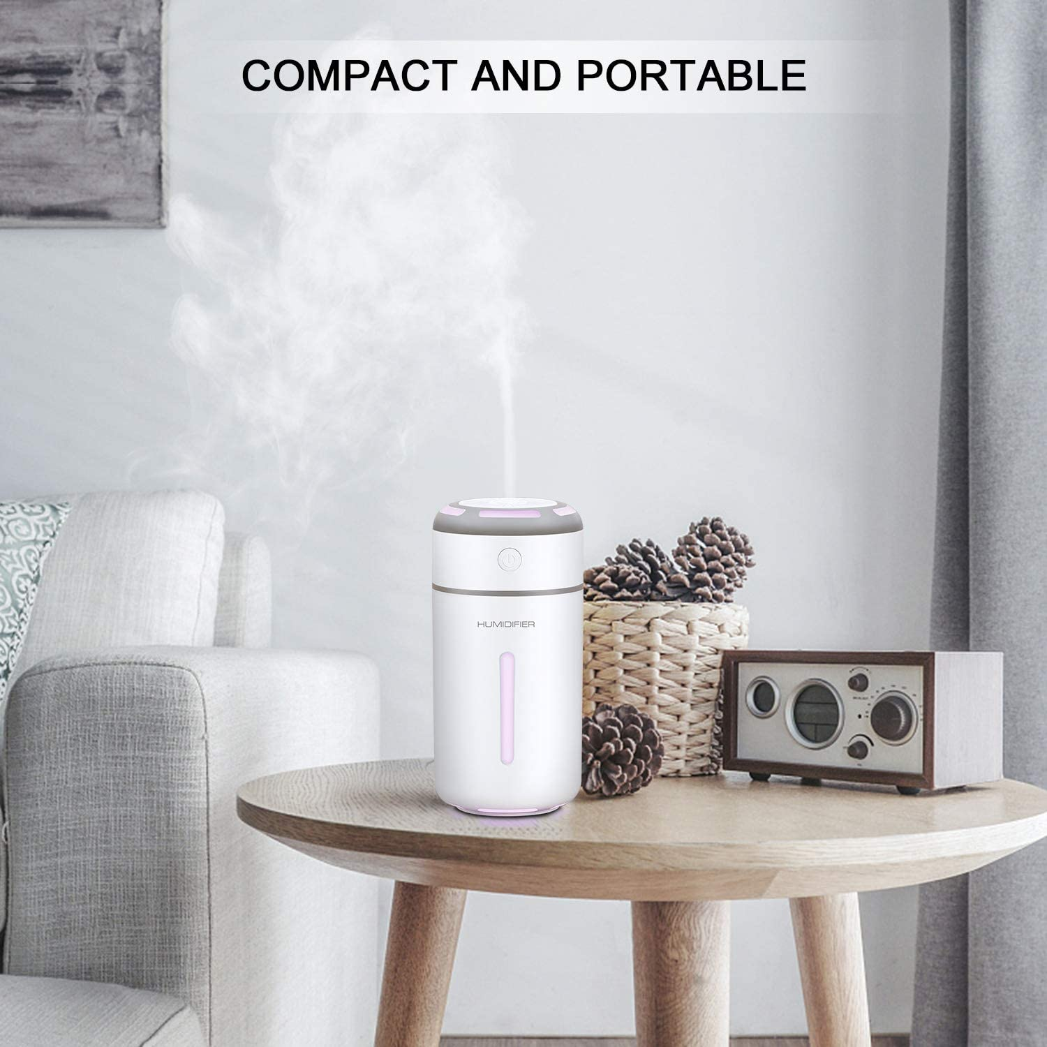 MADETEC Ultrasonic Cool Mist Humidifier Portable Mini USB Air Humidifier for Car Travel Office Baby Bedroom Home with 7 Colors Night Light and Auto