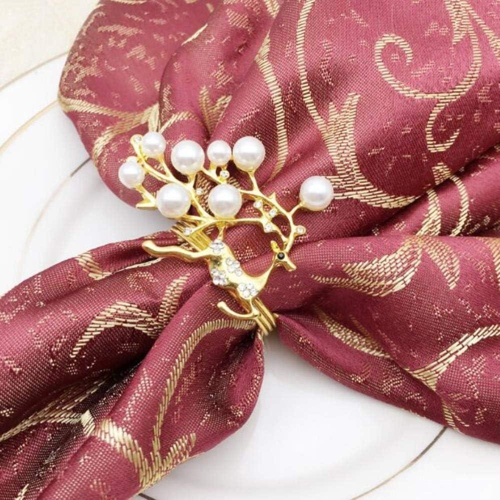 MZW 10pcs / Lot Anillo de servilleta de Ciervo de Navidad con Perlas de Oro Rosa Anillo de servilleta de Tela con Hebilla de servilleta de Metal, Dorado
