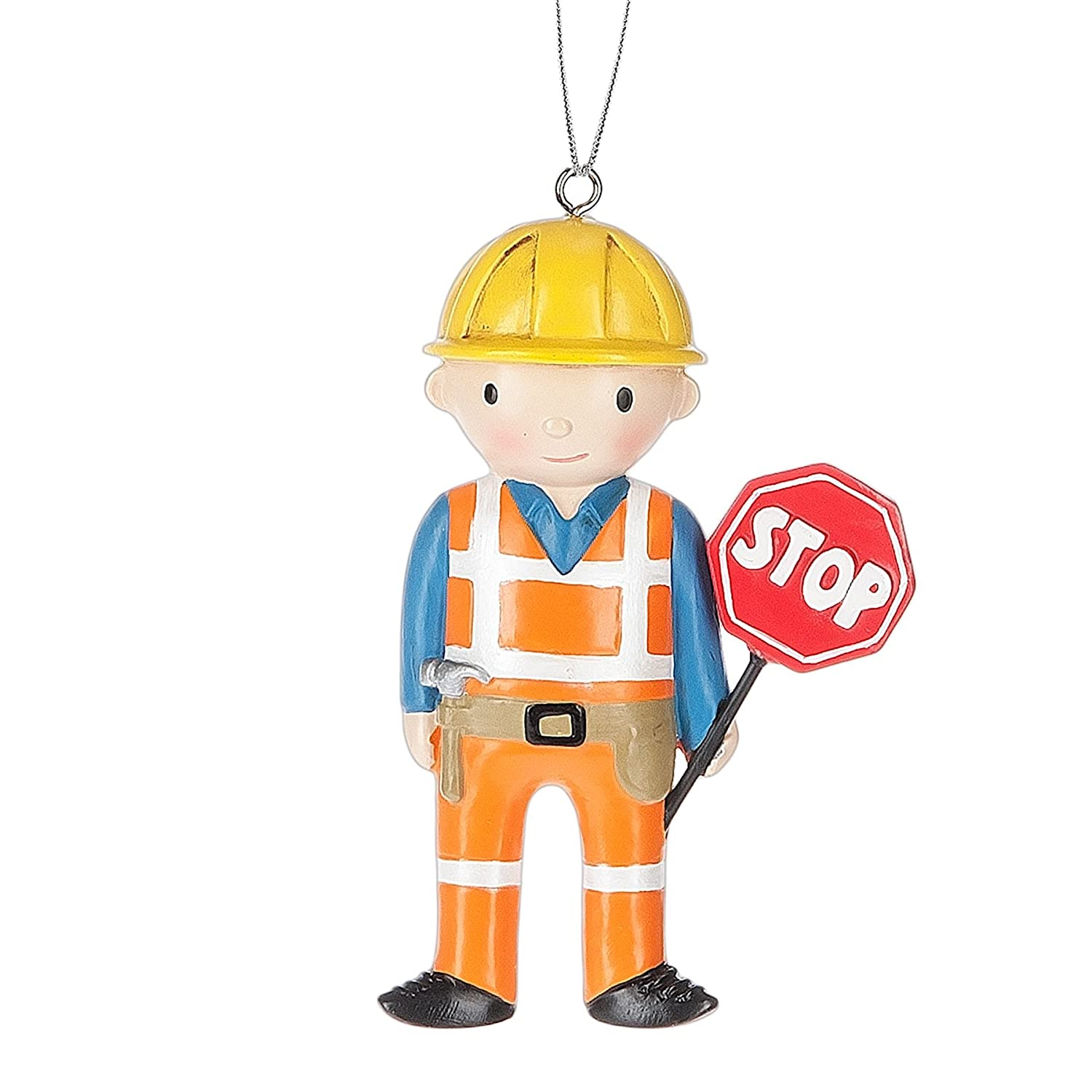 Construction Site Worker Resin Stone Christmas Ornament Figurine