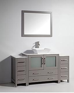Vanity Art 60 Inch Single Sink Bathroom Vanity Set With Ceramic Top And Mirror Va3136