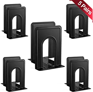 Metronic 5 Pairs-10pc Metal Bookends 6.5 X 5 X 6 for Adult & Kid,Book Ends Support for Home and Office Shelves & Desktop,Heavy Duty Book Stoppers Organizer,Holder & Divider Stand for Movies/CDs-Black