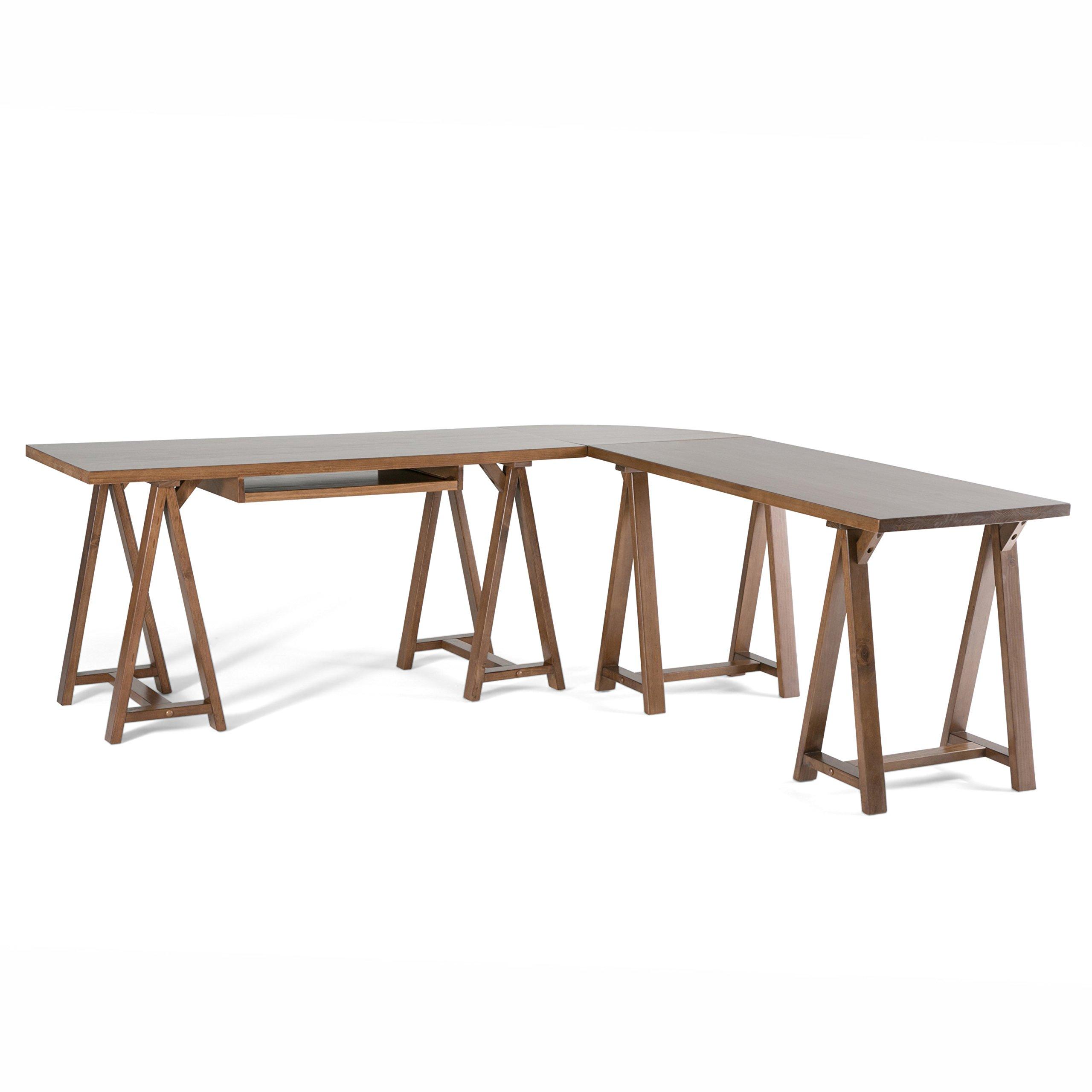 Simpli Home Sawhorse L-Shape Corner Desk, Medium Saddle Brown
