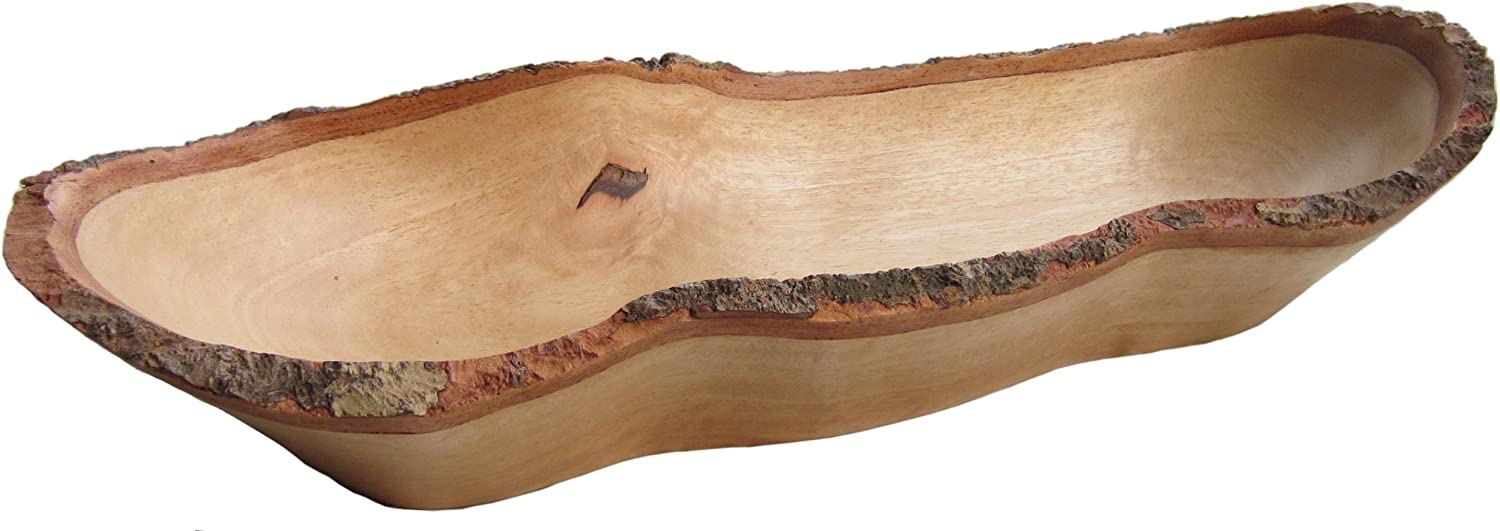 roro Natural Long Tray with Bark Edge Made from Sustainable Wood