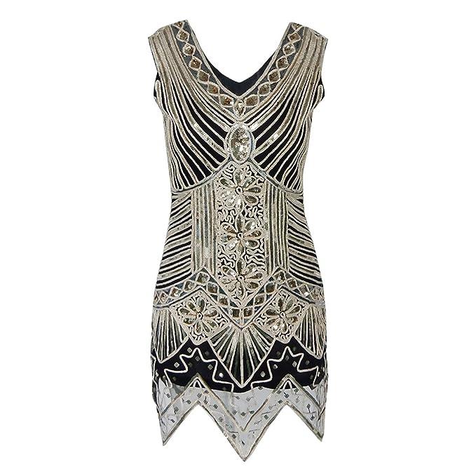 La mujer vestidos de baile charnela brillante Vestido Vintage 1920 Gran Gatsby Gatsby Charleston Sequin Borla parte lentejuelas vestido: Amazon.es: Ropa y ...
