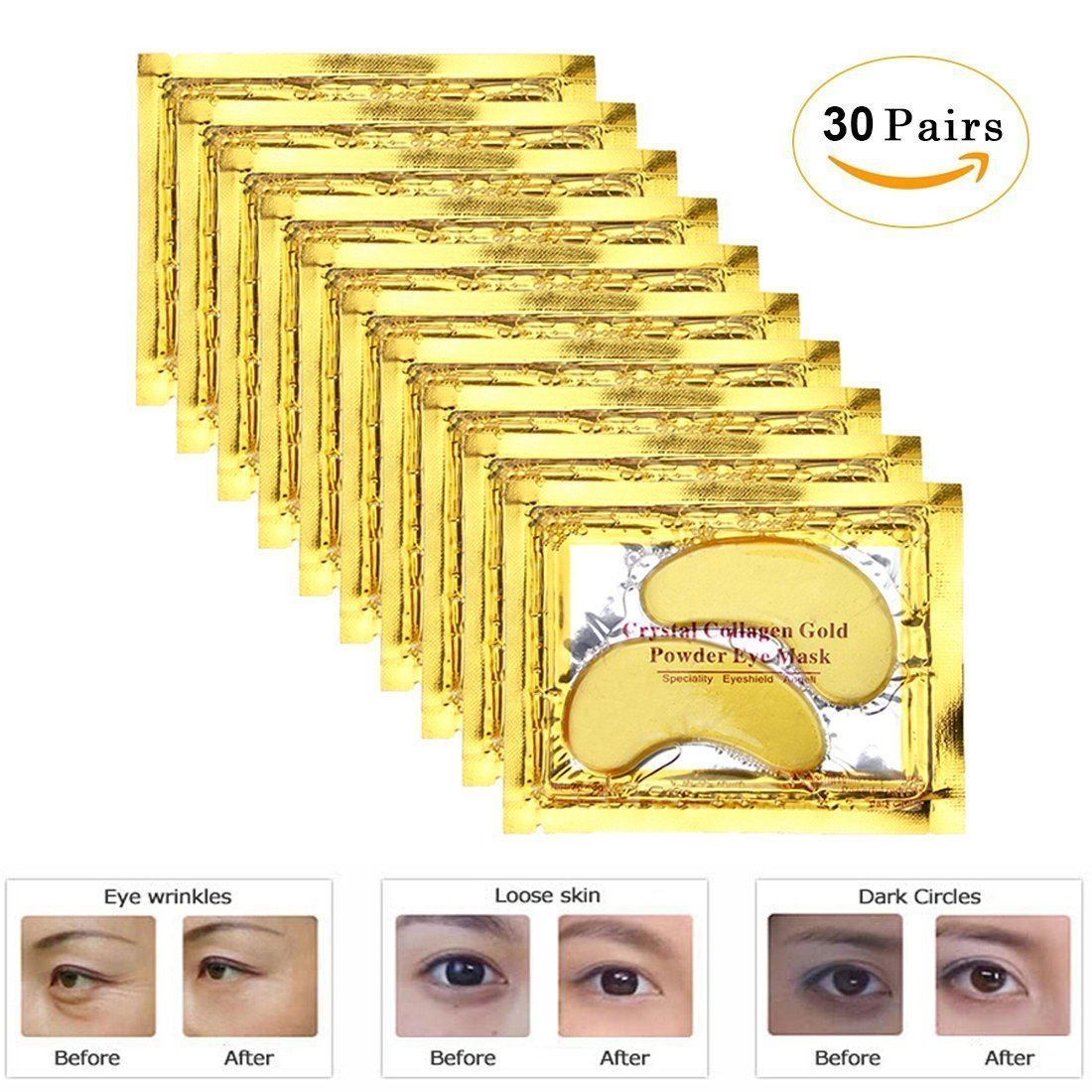 24k Gold Eye Pads-30 Pairs Collagen Eye Mask Powder Crystal Gel For Anti-Aging & Moisturizing Reducing Dark Circles, Puffiness, Wrinkles by INSANY by INSANY (Image #2)