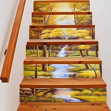 skwff 3D Pegatinas de escalera Impermeable pegatina de pared decorativo para cuartos Decoración del hogar hermosa pequeña corriente 3d sala de estar creativa centro: Amazon.es: Bricolaje y herramientas