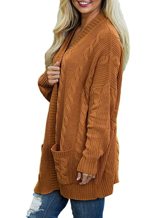 d7e00b8589 Doballa Women s Boyfriend Open Front Long Sleeve Cable Knit Aran Twisted Cardigan  Sweaters Coat With Pockets at Amazon Women s Clothing store