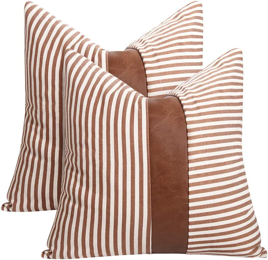 Farmhouse Decoration Pillow Covers 18x18 inch Set of 2 Modern Faux Leather and Ticking Stripe Pillow Covers Boho Indoor Outdoor Decor Cushion Covers for Couch Sofa,Brown