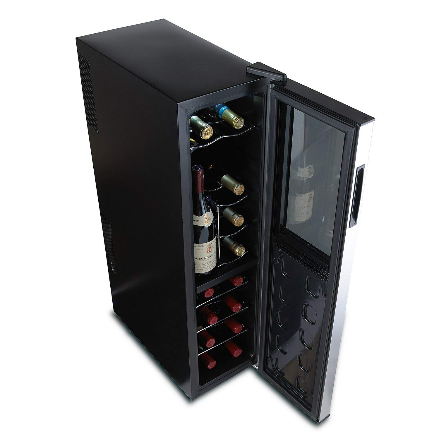 Wine Enthusiast Silent 18 Bottle Wine Refrigerator - Freestanding Slimline Upright Bottle Storage Wine Cooler, Black (Renewed) by Wine Enthusiast