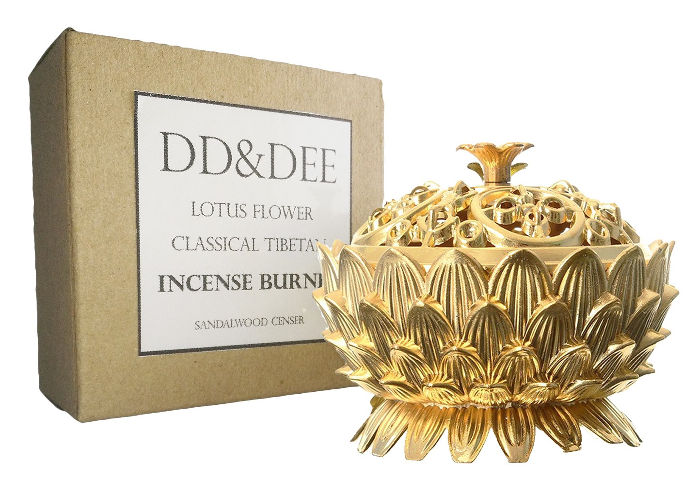 DD&DEE Incense Burner Lotus Flower Classical Tibetan Alloy Mini Sandalwood Censer by DD&DEE (Image #4)