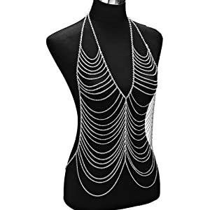 Gold Metal Vest Body Harness Chain Necklace Body Chain