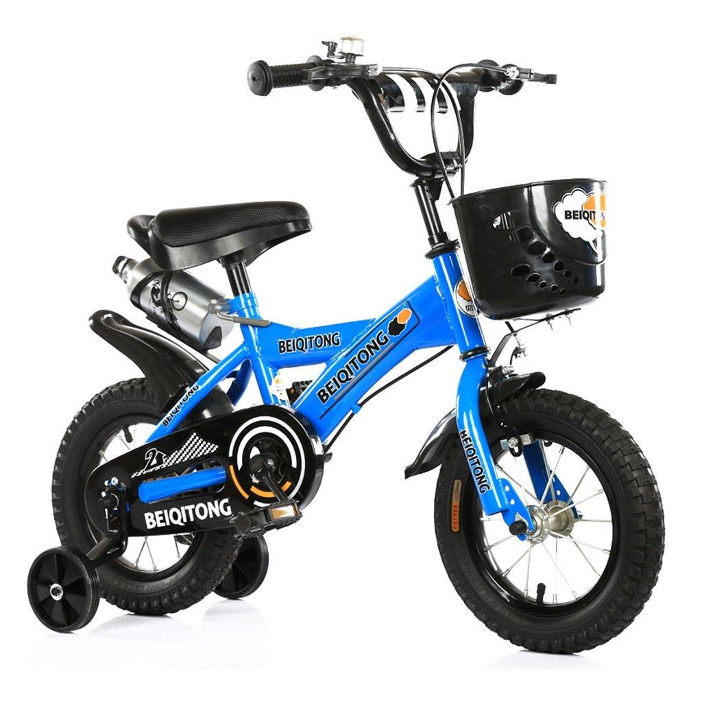 子供の自転車12|14|16|18|20インチ屋外の子供の赤ちゃんキッドマウンテンバイク黒のトレーニングホイールで2歳から11歳の男の子の女の子の贈り物|プラスチックバスケット|ウォーターボトルセーフブルー B078JJDY48 14 inches