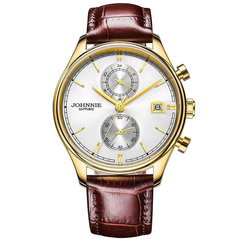 Johnnie Herren Klassische Quarz-Uhren mit Edelstahl Fall - braun Komfortable Echt Leder Gurt Handgelenk Band