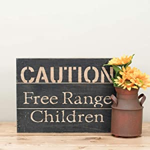 Foreside Rustic Caution Free Range Children 14 x 10.5 inch Distressed Wood Wall Sign, 30