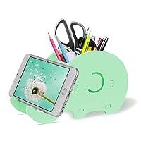 Organisateur de Bureau, Éléphant Mignon Pot à Crayons avec Support Téléphone Compatible iPhone Tablet Smartphone, Décoration Bureau