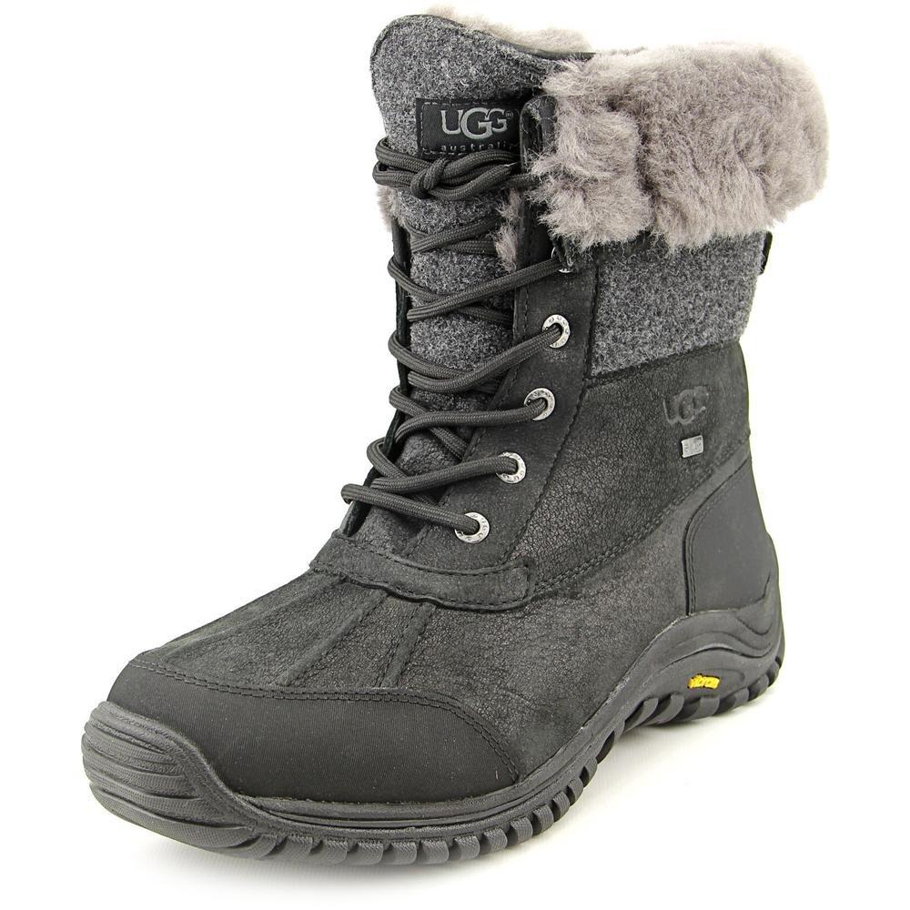 UGG Women's Adirondack Boot II Black Leather 9 B - Medium