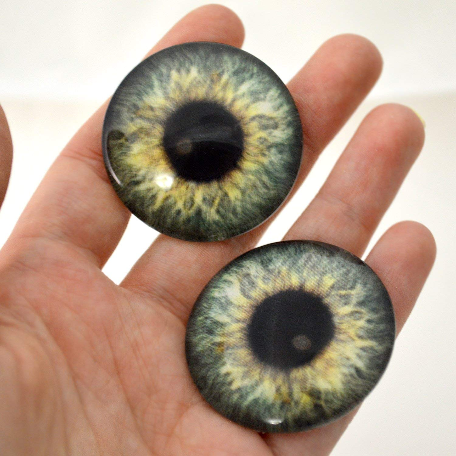 40mm Glass Eyes Olive Green Fantasy Pair Taxidermy Sculptures or Jewelry Making Crafts Set of 2