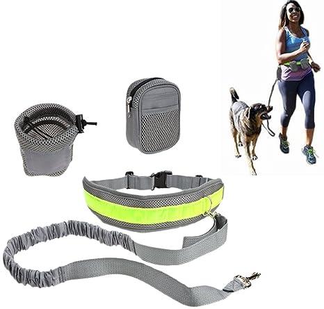 Ueasy manos libres perro correa con riñonera cinturón de running ...