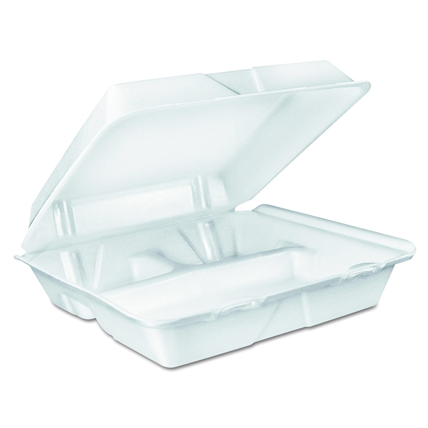 Dart 90HT3R Large Foam Carryout, Food Container, 3-Compartment, White, 9-2/5x9x3 (Case of 200)