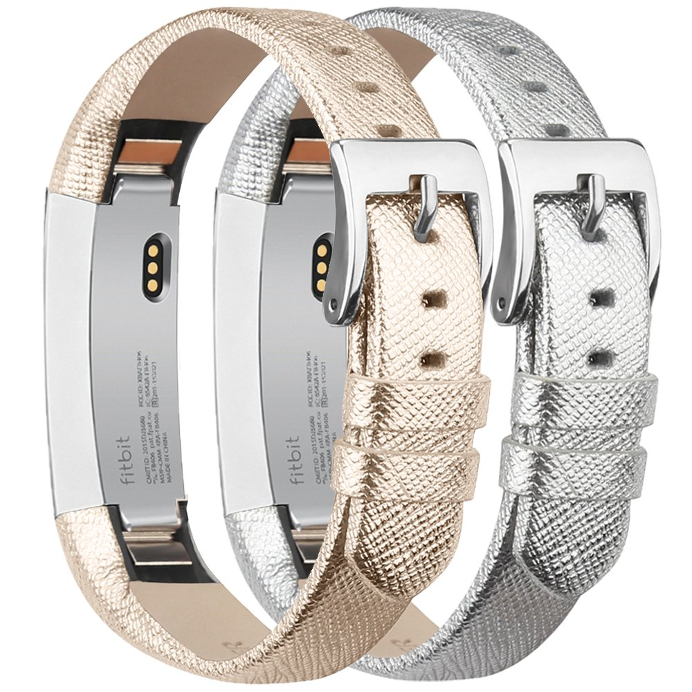 tobfit Fitbit ALTA HR Bands/Fitbit ALTAレザーバンド2パック、本革交換用バンドwithステンレススチールBuckle for Fitbit ALTAアルタHRと B0786BL25N Gold+Silver 5.5''-8.1''