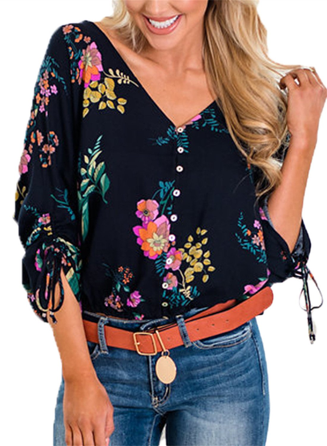 Dokotoo Womens Fashion 3 4 Sleeve Button Down V Neck Summer Bohemian Floral Print Loose Casual Henley Tee Shirts Flare Tops and Blouses Navy X-Large