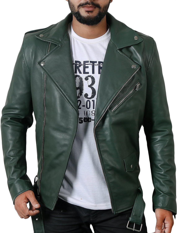 1510532 Lasumisura Mens Black Genuine Lambskin Leather Jacket