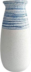 Senliart Clay Vase, Blue and White Artificial Flower Vase, Large Decorative Ceramic Vases 11 x 5