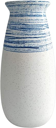 Senliart Clay Vase, Blue and White Artificial Flower Vase, Large Decorative Ceramic Vases 11 x 5