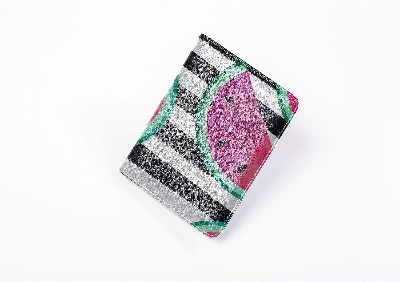 Women Passport Case Fashion Retro Fruit Watermelon Line Cartoon Passport Holder Cover Multi Purpose Print Leather Passport Case Travel Wallets For Unisex 5.51x4.37 Inch