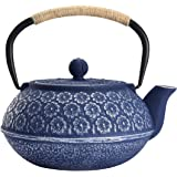 Cast Iron Teapot, Japanese Style Tetsubin, Tea Kettle with Removable Stainless Steel, Internal Enamel, Blue Iron Teapots for