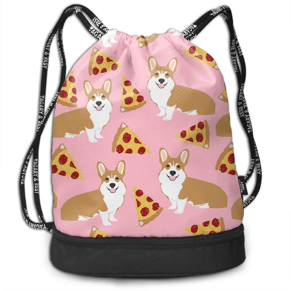 HUOPR5Q Corgi Pizza Pink Drawstring Backpack Sport Gym Sack Shoulder Bulk Bag Dance Bag for School Travel