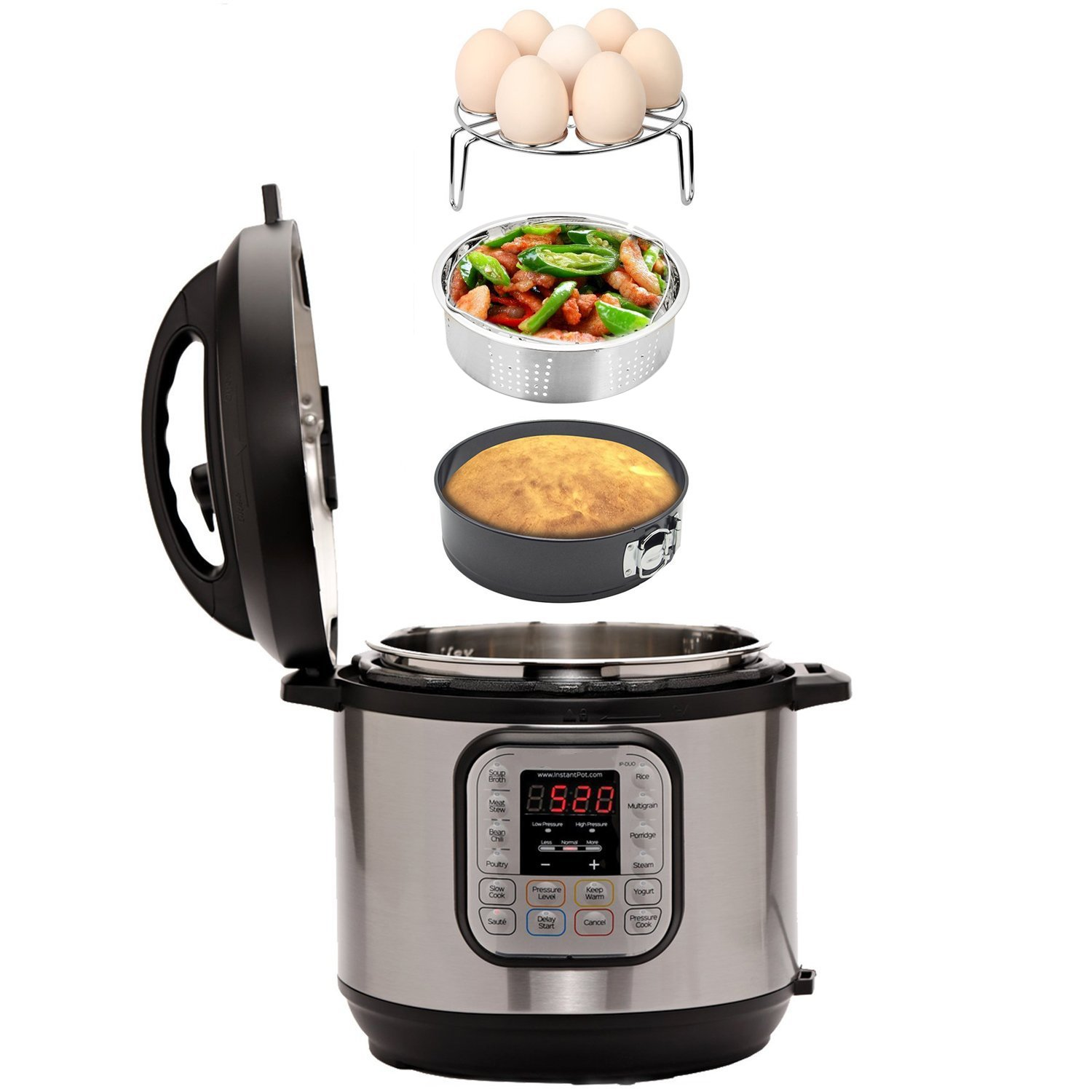 Instant Pot Accessories Set with Steamer Basket, Egg Steamer Rack, Non-stick Springform Pan, Steaming Stand, 1 Pair Silicone Cooking Pot Mitts 5 Piece by JOYORUN (Image #7)